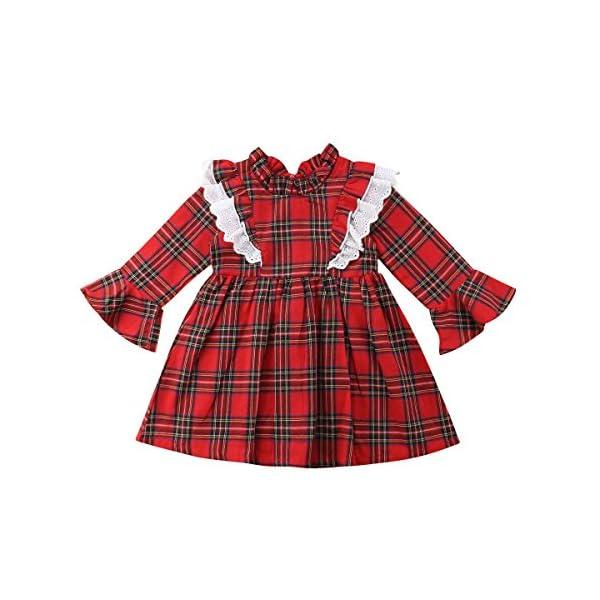 Carolilly Vestiti Sorella Grande e Piccola Natale Neonata Bambina Pagliaccetto in Pizzo Abito Principessa a Quadri Rosso… 1