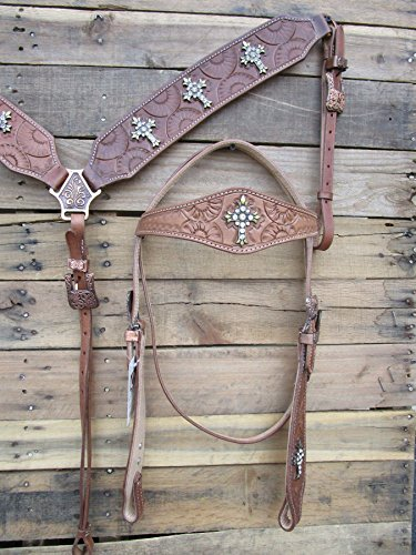 WESTERN HEADSTALL BREASTCOLLAR SET COPPER CROSS STONE STUDDED TOOLED LEATHER PARADE HORSE BRIDLE