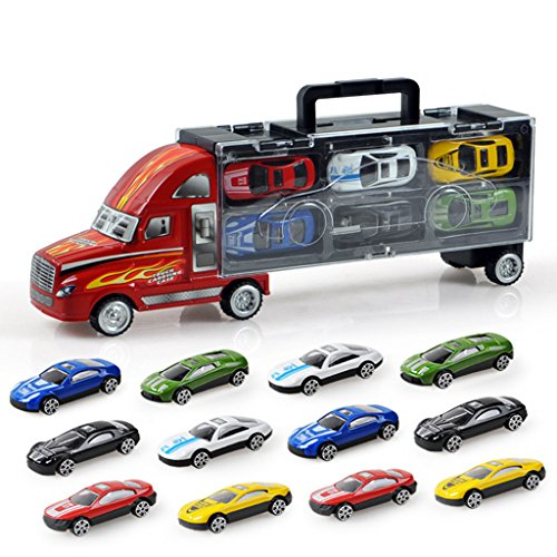 Rig Transporter - Zinnor Truck Carrier Toy - Big Rig Hauler Truck Includes Alloy Metal 12 for Car Toys, Great Toy for Boys and Girls!