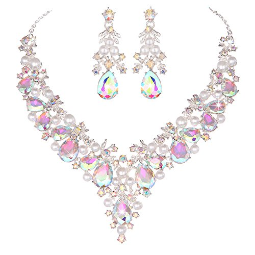 Youfir Bridal Rhinestone Simulated Pearl Necklace Earring Jewelry Set for Brides Wedding Party Dress(Crystal AB) -