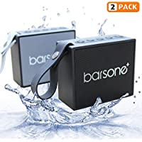 Barsone Portable Wireless Bluetooth Speaker (2-Pack), Built-in Mic, Powerful 5W Audio Driver,IPX6 Waterproof Speaker with Superior Sound for Travel, Beach,Shower,Party- Black and Grey