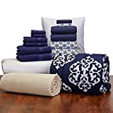 16 Piece Starter Pak Navy Medallion Twin XL College Dorm Bedding and Bath Set