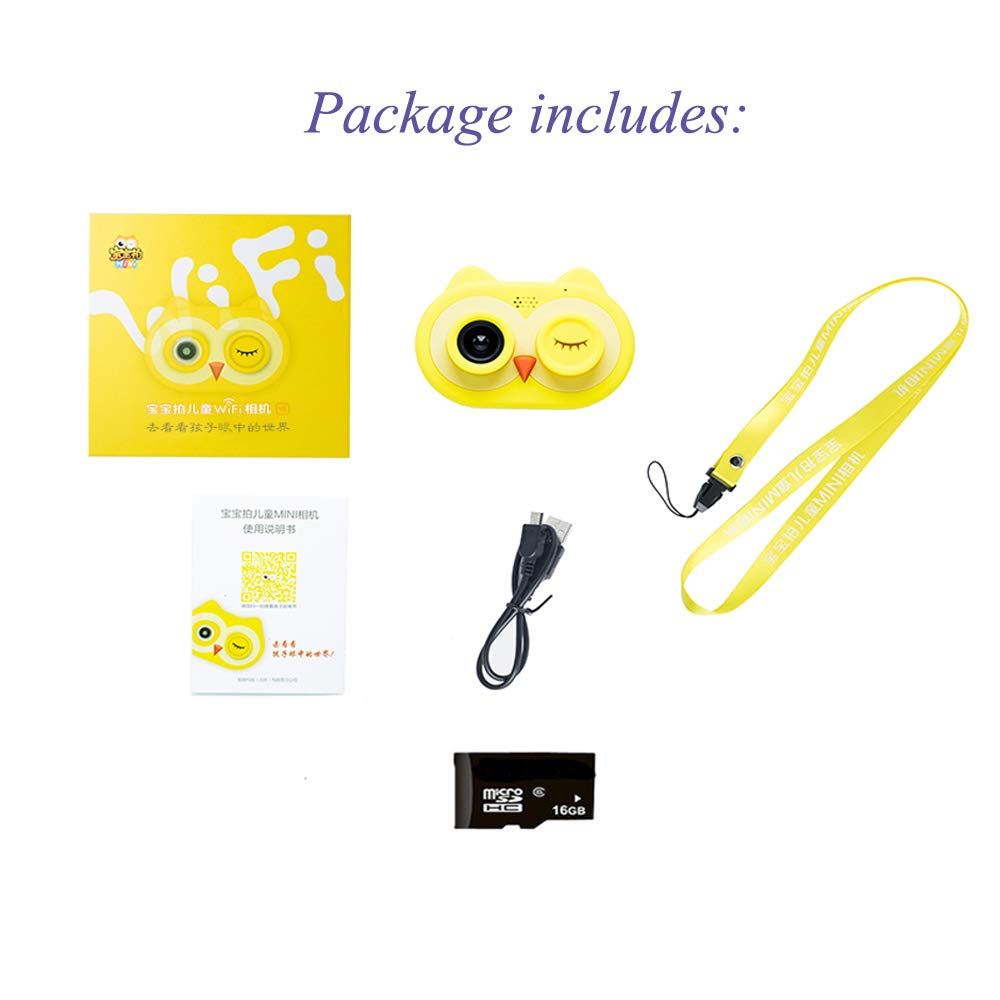 ISHOWStore Mini WiFi Camera for Children HD 8MP External SD Card Digital Video Shakeproof Camcorder for Children with Free 16G Memory Card 82x58x31mm (Yellow Owl) by ISHOWStore (Image #4)