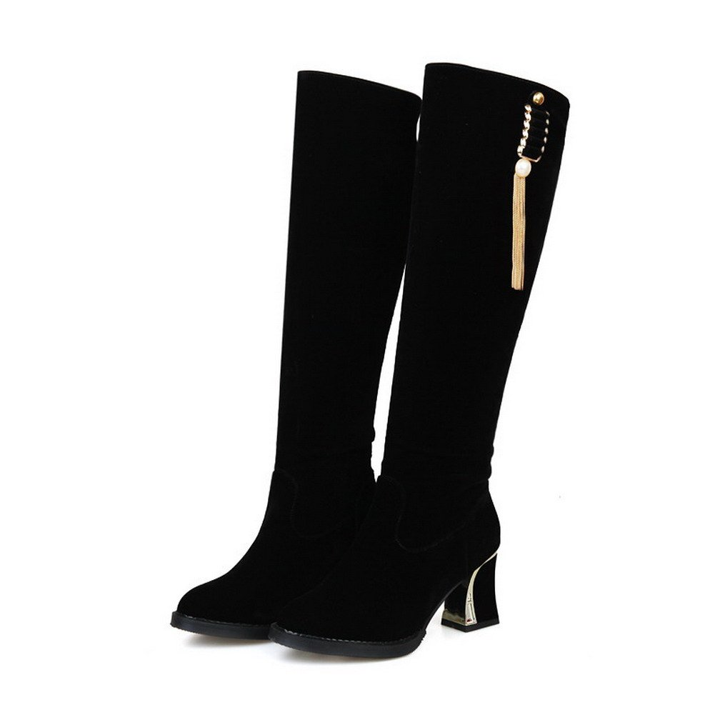 AllhqFashion Women's Round Closed Toe Blend Solid Materials High-Top Solid Blend Boots B01MDN28IF Boots 753ef8