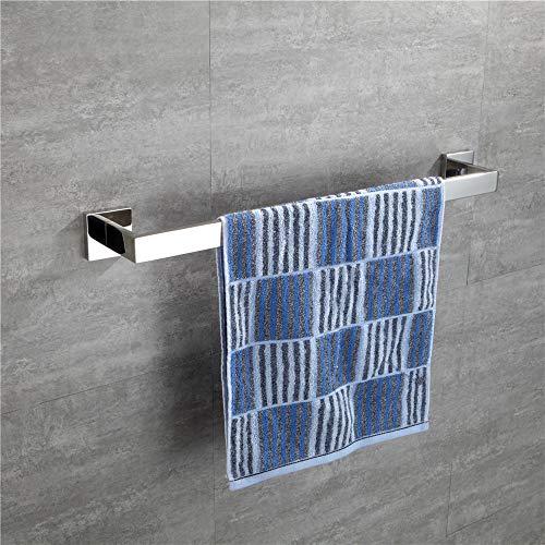 (TURS SUS 304 Stainless Steel Bathroom Towel Bar Square Towel Holder Rack Storage Organizer Hanger 24-Inch, Polished Finish)