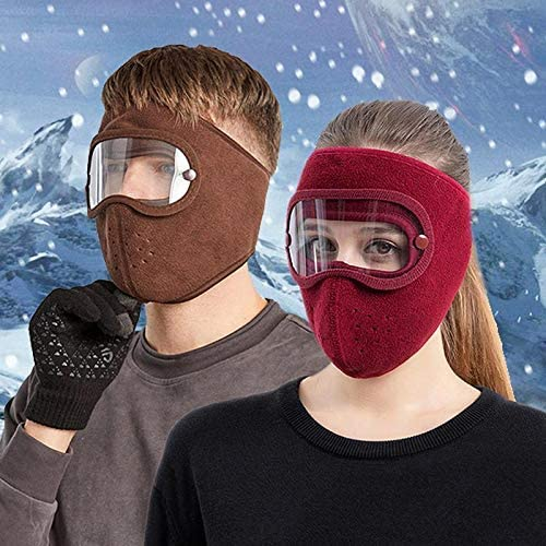 Barbas & Zacári Full Face Protection Headgear, Dust-Proof Facial Protection Anti-Fog, Winter Warm Full Face Protection Masks, Polar Fleece Riding Windproof Hd Goggles Face Protection Mouth Shield