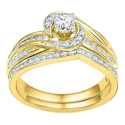 Diamond Swirl Engagement Ring + Wedding Band Bridal Set 1/2ct 10k Yellow Gold ()