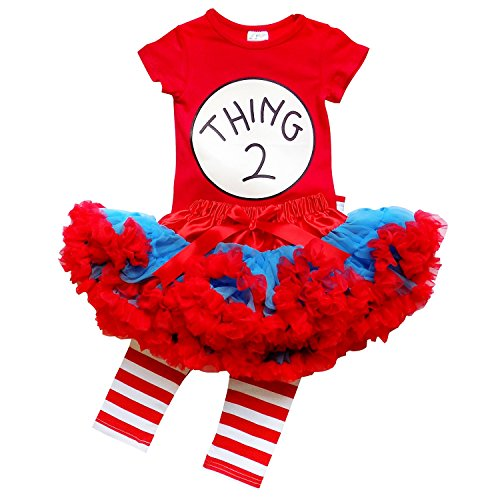 Thing 2 And Thing 1 Costumes (So Sydney Toddler Girl Thing 1, 2 Tutu 3 Pc Outfit Costume, Top Pants Tutu Skirt (S (3T), Thing TWO))