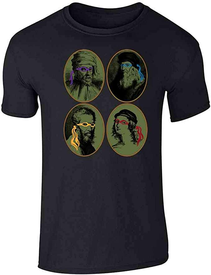 Italian Renaissance Ninja Artists Parody Funny Graphic Tee T-Shirt for Men
