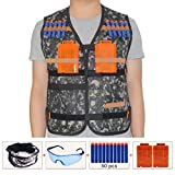 HONGCI Kids Tactical Vest Sets for Nerf Toy Guns N-strike Elite - Jungle (comes with Seamless Skull Face Mask + Protective Goggles + 50pcs Blue Foam Darts + 2pcs 5-dart Quick Reload Clip)