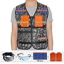 HONGCI Kids Tactical Vest Sets for Nerf Toy Guns N-strike Elite - Jungle (comes with Seamless Skull Face Mask + Protective Goggles + 50pcs Blue Foam Darts + 2pcs 5-dart Quick Reload Clip)