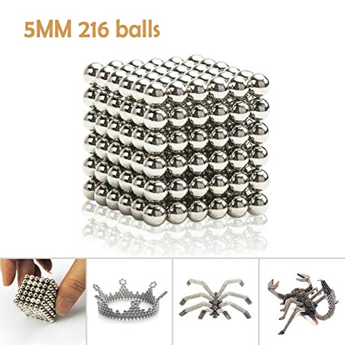 Greenroledulfcc Magnetic Sculpture Toy, 5MM 216 Pieces Magical Balls Fidget Toy for Intelligence Development, Office Stress Relief and DIY Decoration by Greenroledulfcc