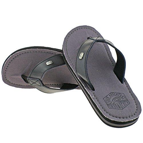 44 Beach Grey EU 43 Sandals Leather Urban Flip Beach Post Black Toe Kaneohe UK Mens Flop 9 q5at6