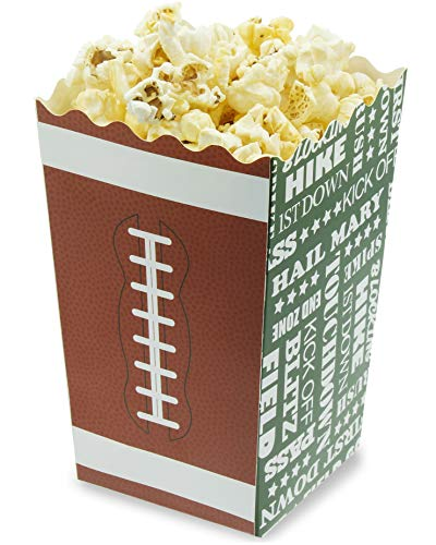 Juvale 100-Pack 5.5 Inch Tall Mini Football Theme Paper Popcorn Party Favor Boxes for Treats, Candy ()