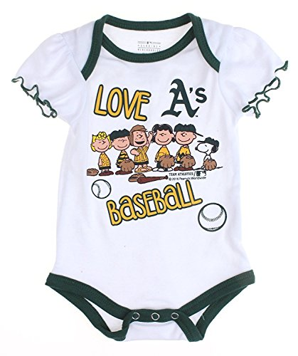 Outerstuff MLB Oakland A's Athletics Baby Girls Infants Peanuts Love Baseball Creeper, W.