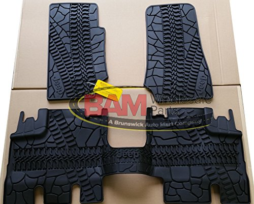 2007-2013 Jeep Wrangler 4Door Front and Rear Slush Mats-3 Piece Set (Door 4 Piece Floor Mat)