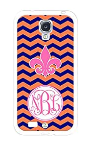 Monogram Personalized Coral and Blue Chevron with Fleur De Lis Sign RUBBER Samsung Galaxy S4 Case - Fits Samsung Galaxy S4 T-Mobile, AT&T, Sprint, Verizon and International (White)