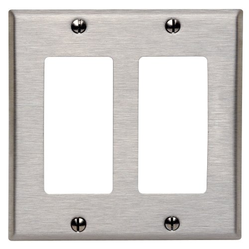 Stainless Steel Wall Plate - Leviton 84409-40 2-Gang Decora/GFCI Device Decora Wallplate, Device Mount, Stainless Steel
