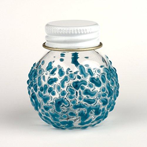 Blown Glass Screwcap Bottle - Aqua (Jar Glass Hand Blown)