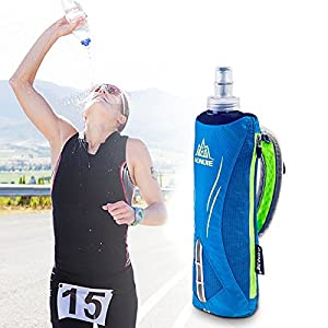 Tsptool Portable Adjustable Strap Hand Water Bottle Holder Bag for Running Marathon Sports 500ml Black