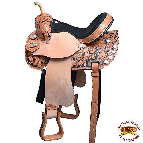 HILASON 16″ Western Horse Treeless Saddle American Leather Trail Barrel Racing