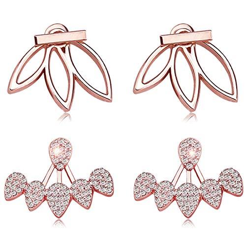 (Suyi Fashion Hollow Lotus Flower Earrings Crystal Simple Chic Stud Earrings Set BRG)