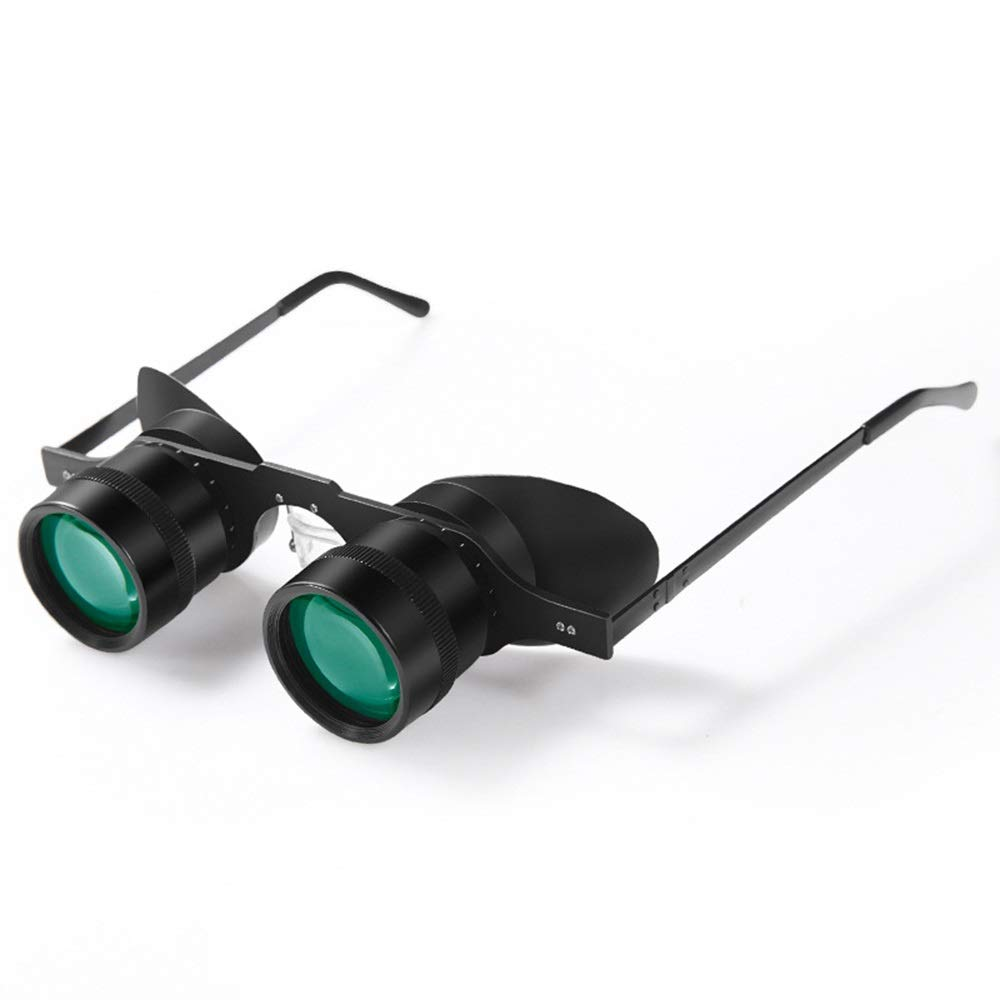 ZGQA-GQA 10x34 Glasses Hanging Ear Telescope Fishing Outdoor Sports Fishing Travel Telescope Ultra Light Green Film Low Light Night Vision Detachable Tube for Adult by ZGQA-GQA
