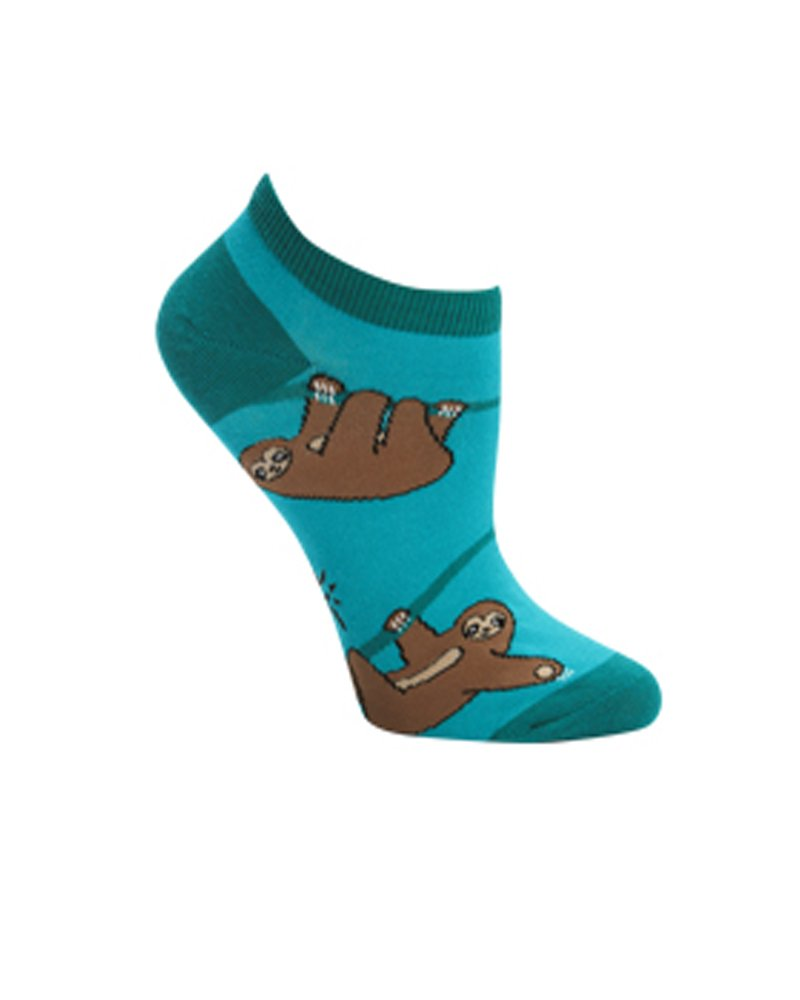 Sock It To Me Sloth Ankle Socks, One Size - Green - 1