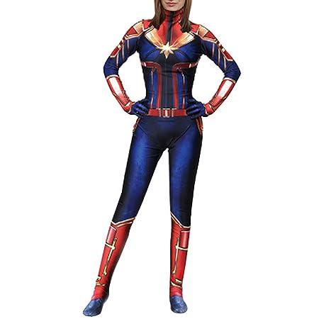 QQWE Capitán Marvel Cosplay, Traje de Batalla de Las Mujeres ...