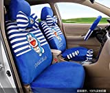 1 Sets lovely cartoon comfotable Universal Car five Seat covers Car Steering Wheel Cover women car seat cushion (blue strip)