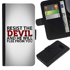 EuroCase - Samsung Galaxy S6 SM-G920 - RESIST THE DEVIL - Cuero PU Delgado caso cubierta Shell Armor Funda Case Cover