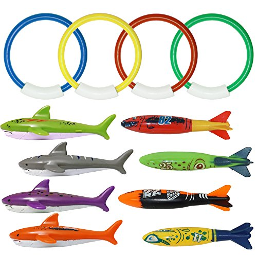 Premium Torpedo (Pool Diving Toys for Kids, ZLIXING Underwater Swimming Pool Diving Toys Fun Sinking Water Toy - 4 Diving Rings, 4 Torpedoes and 4 Shark Fish Toys, Assorted Colors)