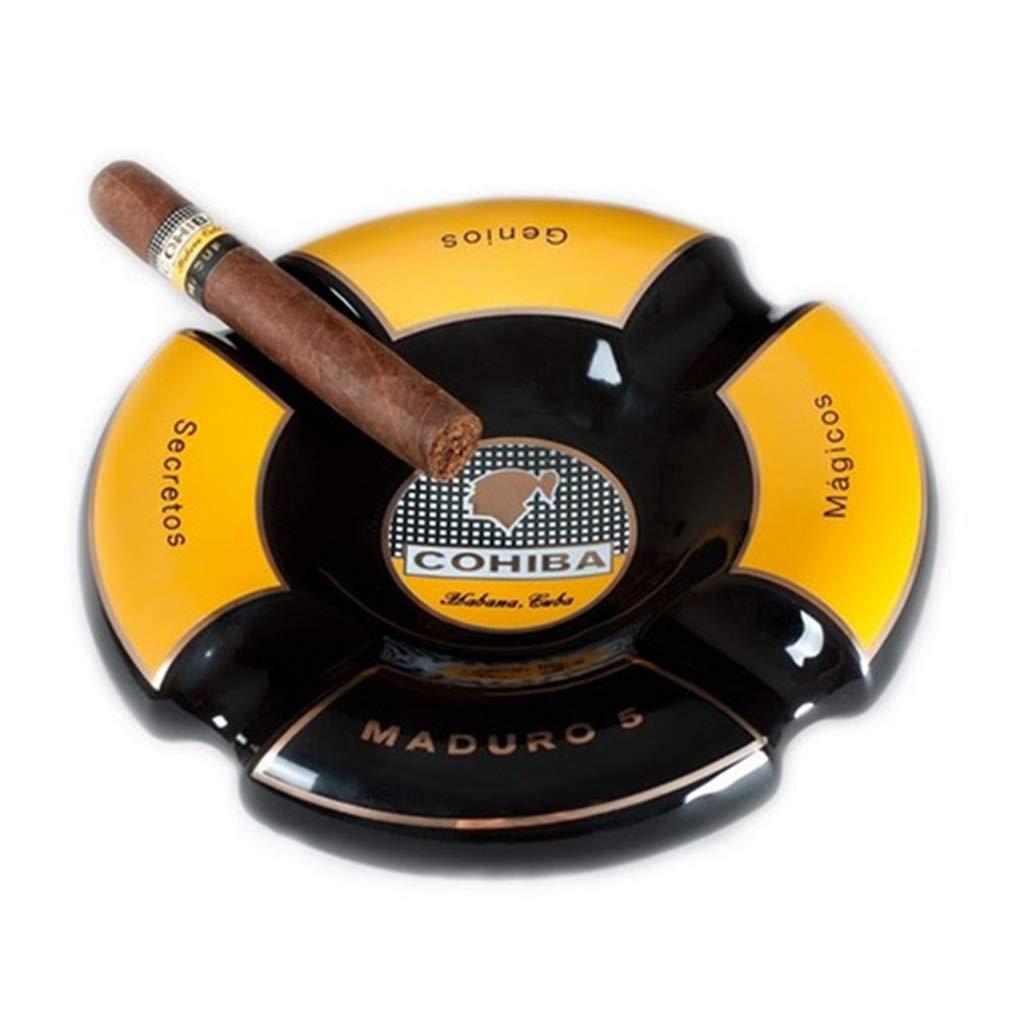 WONNA Cohiba Maduro 5 Black & Yellow Ceramic Cigar Ceramic Ashtray