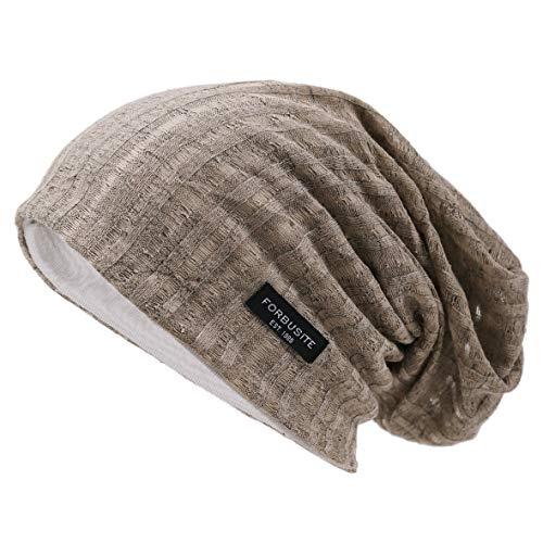 Acrylic Solid Knit Beanies - Ruphedy Mens Slouchy Beanie Skull Cap Summer Thin Baggy Oversized Knit Hat B301 (B018s-Khaki)