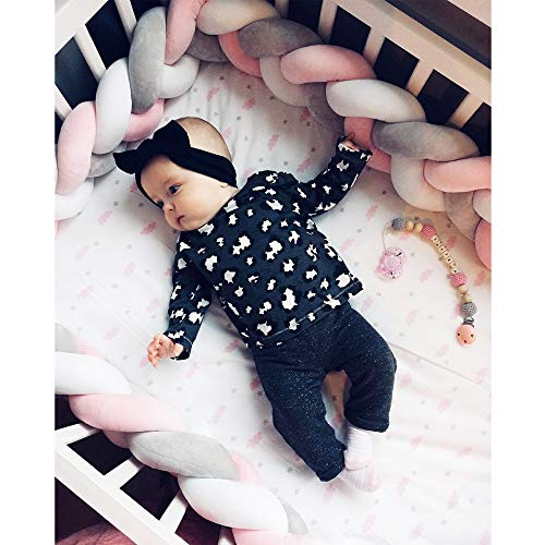 MAMERIA Baby Knot Crib Bumper Braided Handmade Bed Pillow Nursery Decor Soft Newborn Knotted Cradle Sleep Cushion (White/Grey/Pink, 157