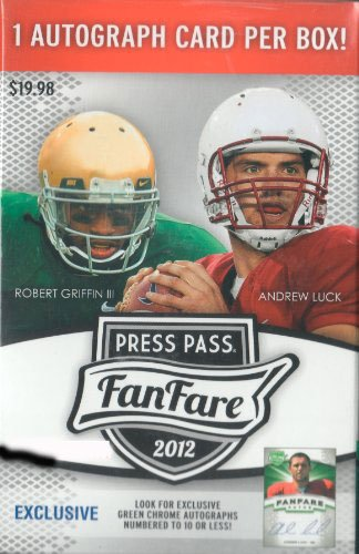 2012 Press Pass Fanfare Series Box Containing One Pack with One Autographed Card