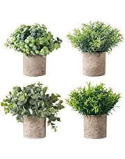 HBlife Set of 4 Artificial Plant Mini Potted Fake Plants Faux Eucalyptus Boxwood Rosemary Greenery in Pots Face Plant Decor Small Houseplants for Home Decor Office Desk Bathroom Decoration