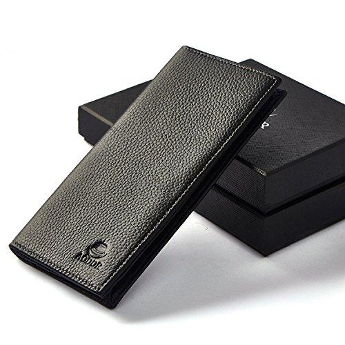 Men's genuine Leather Long Wallet classic design Best Gift Choice (black)