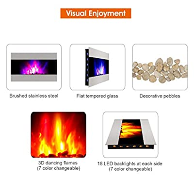 Finether 1500W Adjustable Wall Mounted Electric Fireplace Heater with 3D Patented Flame, 7 Color Changeable LED Backlight and Remote Control