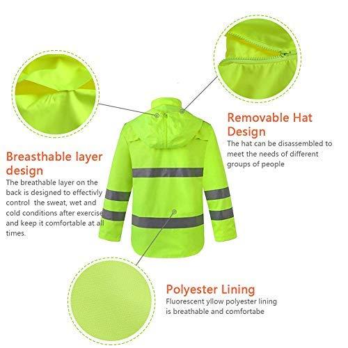 XIAKE SAFETY Class 3 Hi-Vis Reflective Rainwear Breathable Windproof Waterproof Antifouling, ANSI/ISEA Compliant,Yellow (3X-Large, YELLOW) by XIAKE (Image #3)