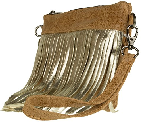 Fringe Bag Tan Leather Suede Metallic Clutch HandBags Italian Girly wZEqOzO