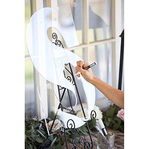LUGUNU Custom Clear Wedding Guest Book Monogram Letter Sign 26 Letter for Guestbook Alternative Acrylic Wedding Welcome Signs (C Letter (1818inch)) -