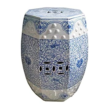 Amazoncom Oriental Decorative Chinese Ceramic Garden Stool Blue