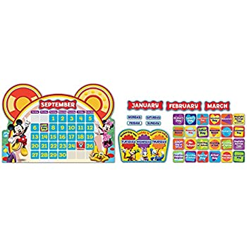 Eureka Mickey Mouse Classroom Calendar Teacher Supplies, 0.1'' x 18'' x 28'', 110pc