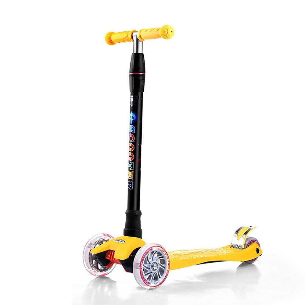 El nuevo outlet de marcas online. Amarillo Scooter Ajustable de Scooter para niños Tirador Tirador Tirador con barra ajustable en T de 3 ruedas Patinadores de patada con ruedas de planeador Cubierta ancha para niños de 5 a 14 años manijas Ajustables y constru  ofreciendo 100%