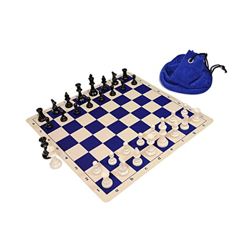 Wholesale Chess Triple Weighted Staunton Silicone Set - Blue (Staunton Weighted Chess Set)