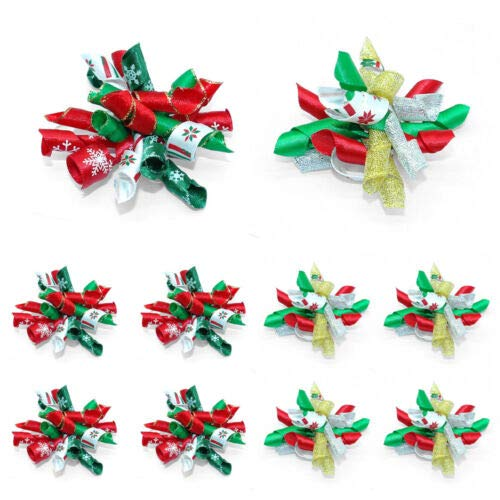 FidgetKute 10/50/100pcs Wholesale Pet Cat Dog Christmas Hair Bows Accessories Dog Grooming 100 Mixed Color One Size by FidgetKute
