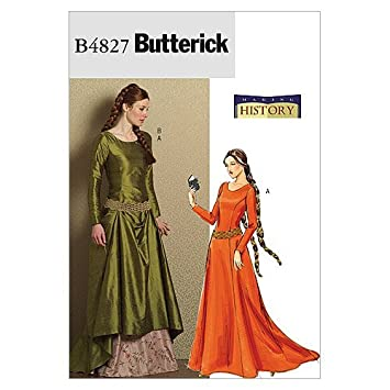 Butterick 4827 - Patrones de costura para confeccionar vestido medieval (tallas 40, 42, 44 y 46): Amazon.es: Hogar
