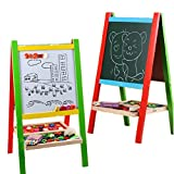 Liuzecai Educational Toys Board Easel with Green Chalkboard Dry-Erase Board/Storage Tray Adjustable Deluxe Magnetic Standing Art Easel for Kids Folding Double-Sided Wooden Drawing