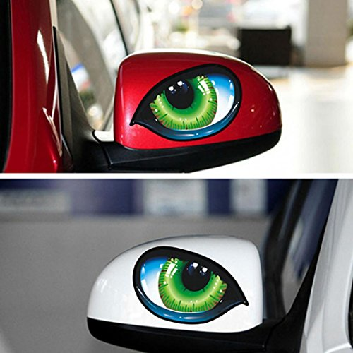 Catnew 2Pcs Creative Evil Eyes Self-Adhesive Car Sticker Rear View Mirror Bicycle Skateboard Luggage Phone Pad Laptop Decor Decal ()